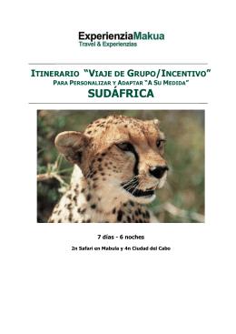 Viaje de Grupo / Incentivo a Sudáfrica Superior