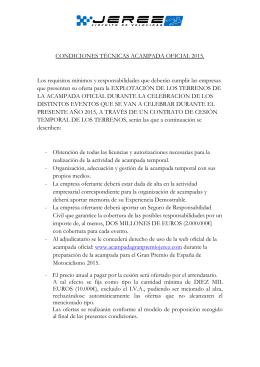 CONDICIONES TÉCNICAS ACAMPADA OFICIAL