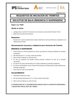 requisitos de iniciación de trámites solicitud de baja (renuncia