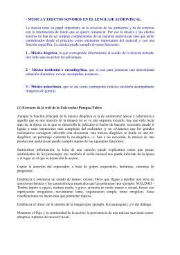 - MÚSICA Y EFECTOS SONOROS EN EL LENGUAJE