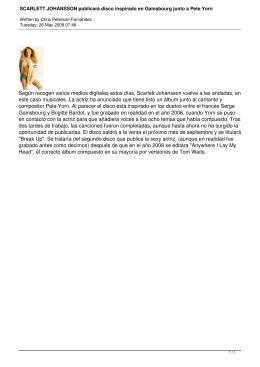 SCARLETT JOHANSSON publicará disco inspirado en Gainsbourg