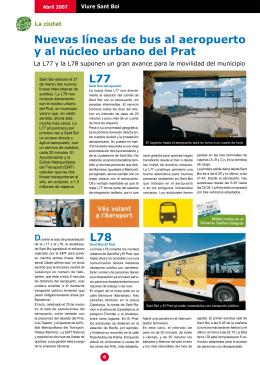 Nuevas líneas de bus al aeropuerto y al núcleo urbano del Prat L77