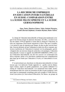 la recherche empirique en education interculturelle en suisse