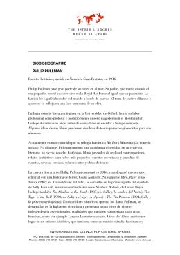 BIOBIBLIOGRAPHIE PHILIP PULLMAN Escritor británico