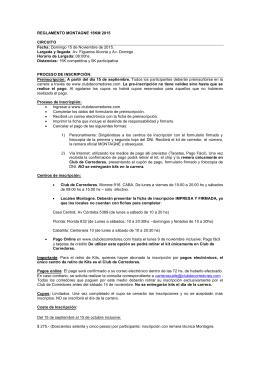 REGLAMENTO MONTAGNE 15KM 2015 CIRCUITO Fecha