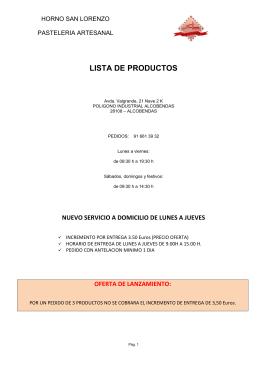 LISTA DE PRODUCTOS - Horno San Lorenzo