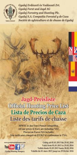 Jagd-Preisliste Official Hunting Price List Lista de