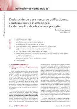 Instituciones comparadas Declaración de obra nueva