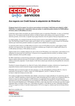 Axa negocia con Credit Suisse la adquisición de Winterthur