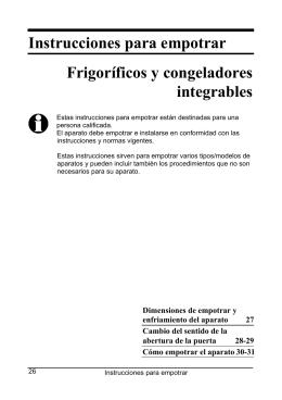 Instrucciones para empotrar Frigoríficos y congeladores integrables