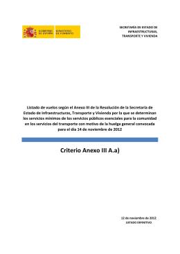 Listado de vuelos Huelga General 14 nov 2012