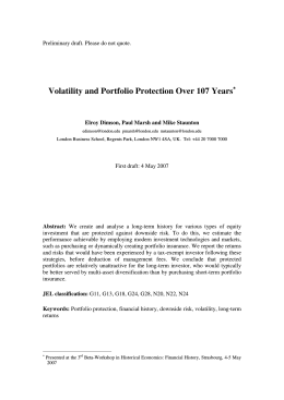 Volatility and Portfolio Protection Over 107 Years∗