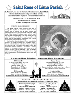 Christmas Mass Schedule / Horario de Misas Navideñas