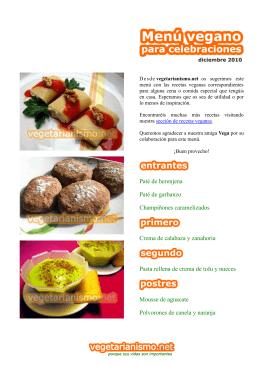 menú vegano en formato pdf
