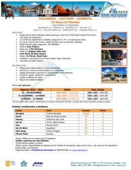 TAILANDIA – VIETNAM - CAMBOYA 15 Días/14 Noches