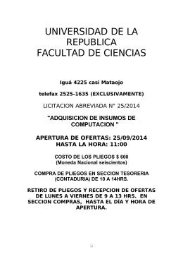 PLIEGO DE CONDICIONES PARTICULARES