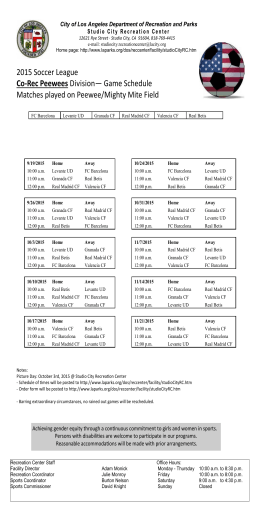 2015 Soccer League Co-Rec Peewees Division— Game Schedule