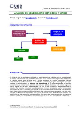 ANÁLISIS DE SENSIBILIDAD CON EXCEL Y LINDO