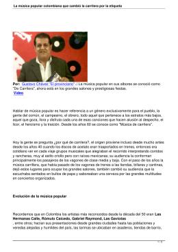 La música popular colombiana que cambió la carrilera por la etiqueta
