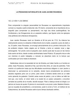 La pedagogía naturalista de Juan Jacobo Rousseau