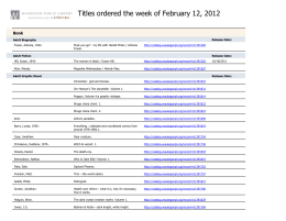 Titles ordered the week of February 12, 2012 ()