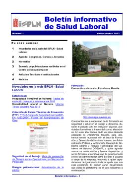 Boletín informativo de Salud Laboral