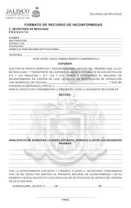 FORMATOS DE RECURSO DE INCONFORMIDAD ESCUDO