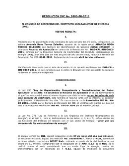 Res. INE No. 2606-08-2011 - Instituto Nicaragüense de Energía
