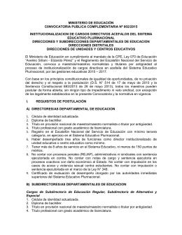 convocatoria - Ministerio de Educación
