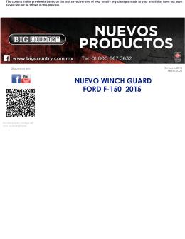 NUEVO WINCH GUARD FORD F150 2015