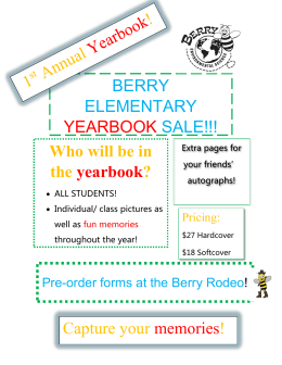 BERRY ELEMENTARY YEARBOOK SALE!!! Capture your memories