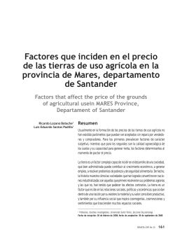 Factores que inciden en el precio de las tierras de uso agrícola en la