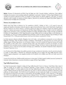 Orden de Acharyas del Informe Anual 2015