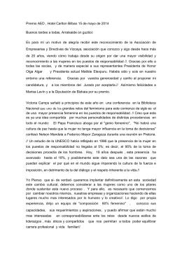 Premio AED , Hotel Carlton Bilbao 15 de mayo de 2014 Buenos