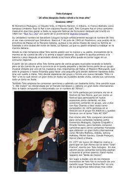 """Toto Cutugno """"26 años después Italia volvió a lo - Eurovision"""