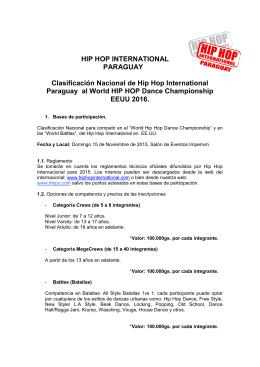 HIP HOP INTERNATIONAL PARAGUAY Clasificación Nacional de
