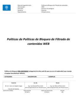 Políticas de Políticas de Bloqueo de Filtrado de contenidos WEB