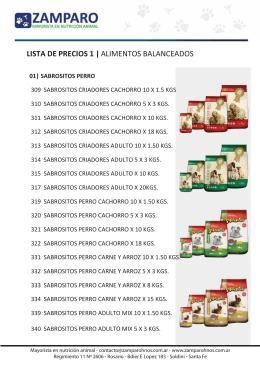 lista de productos - Zamparo Hnos. mayorista en Nutrición Animal
