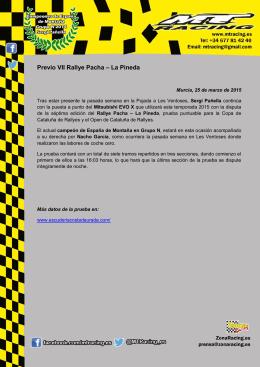 Previo VII Rallye Pacha – La Pineda