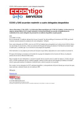 CCOO y SAS acuerdan readmitir a cuatro delegados despedidos