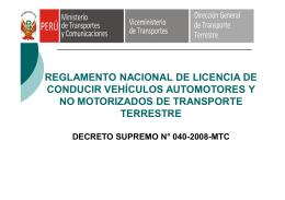Reglamento Nacional de Licencias de Conducir - DRTC