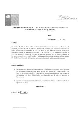 Resolución Proveedores Inscritos Agosto 2014