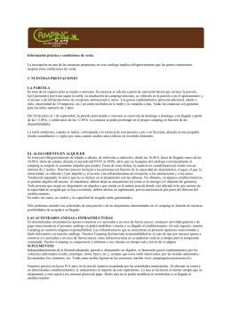 Información práctica y condiciones de venta La inscripción en una