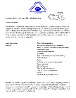 Lista de Materiales para TK y Kindergarten