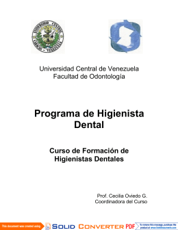 Programa de Higienista Dental - Universidad Central de Venezuela
