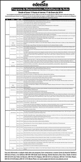 Programa de Mantenimiento del 13 de enero al 17 del 2014