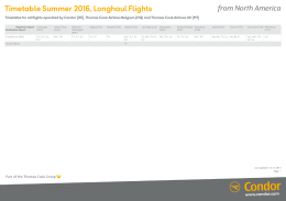 Timetable Summer 2016, Longhaul Flights