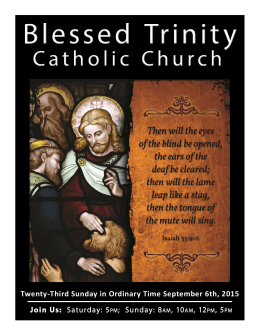 Twenty-Third Sunday in Ordinary Time September 6th, 2015