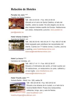 Relación de Hoteles - V Congreso de Educación Artística y Visual