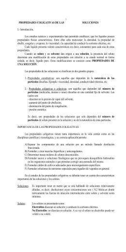 PROPIEDADES COLIGATIVAS DE LAS SOLUCIONES I